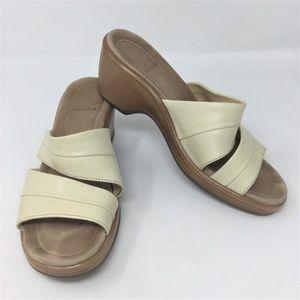 Dansko Cream Leather Slip On Wedge Sandals 38